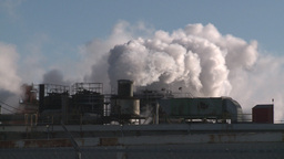 winter 3 smoke stacks cold Stock Video Footage