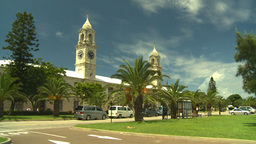 HD2008-8-12-59 Bermuda old town traffic clock tower Stock Video Footage