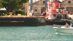 HD2008-8-13-17 boat passes in harbour Stock Video Footage