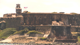 HD2008-8-13-37 San Juan fort from ocean Stock Video Footage