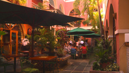 HD2008-8-14-31 San Juan courtyard cafe Stock Video Footage
