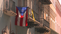 HD2008-8-14-35 San Juan old town flag Stock Video Footage