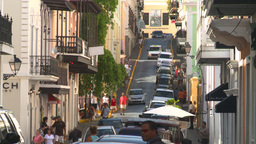 HD2008-8-14-39 San Juan old town traffic cobblestone Footage