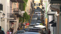 HD2008-8-14-39 San Juan old town traffic cobblestone Stock Video Footage