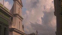 HD2008-8-14-55 San Juan old town buildings jet thru frame Stock Video Footage