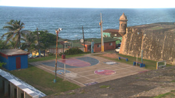 HD2008-8-14-73 San Juan old town basketball court Stock Video Footage