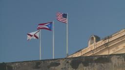 HD2008-8-15-10 San Juan old town flgs Stock Video Footage