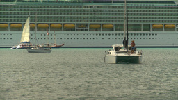 HD2008-8-15-38 StThomas sailboats cruise ship Stock Video Footage