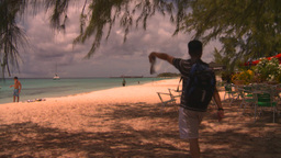 HD2008-8-16-16 Turks man on beach Stock Video Footage