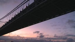 HD2008-8-17-22 dawn NYC harbor bridge Stock Video Footage
