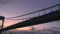 HD2008-8-17-22 dawn NYC harbor bridge Stock Video Footage