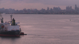 HD2008-8-17-28 dawn NYC harbor Stock Video Footage