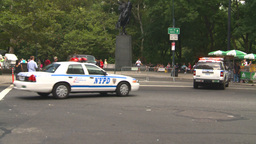 HD2008-8-17-40b NYC many police cars Stock Video Footage