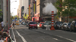 HD2008-8-17-48 NYC traffic steam pipe Stock Video Footage