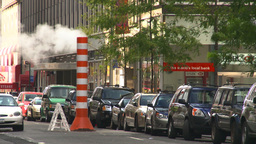 HD2008-8-17-50 NYC traffic steam pipe Stock Video Footage