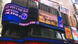 HD2008-8-18-8 NYC Times Square Spin Tickertape Ads stock footage