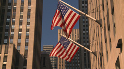 HD2008-8-18-12 NYC bdgs and flags Stock Video Footage