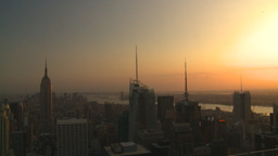 HD2008-8-18-39 NYC from 30 rock skyscrapers sunset Stock Video Footage