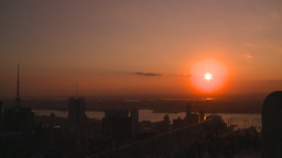 HD2008-8-18-41 NYC from 30 rock skyscrapers sunset Stock Video Footage
