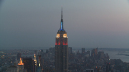 HD2008-8-18-45 NYC Empire state from 30 rock after dark Stock Video Footage
