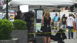 HD2008-8-19-2 TV news crew Times square Stock Video Footage