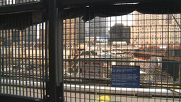 HD2008-8-19-46 WTC fence construction site Stock Video Footage