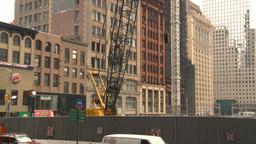HD2008-8-19-52 NYC construction site crane tilt up Stock Video Footage