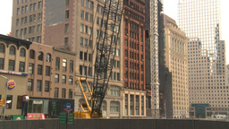 HD2008-8-19-52 NYC construction site crane tilt up Stock Video Footage