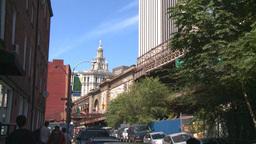NYC approach Brooklyn bridge Stock Video Footage