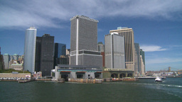 NYC ferry ride look at city from river Footage