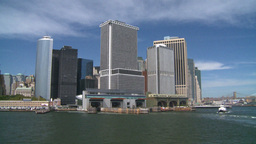 NYC ferry ride look at city from river Stock Video Footage