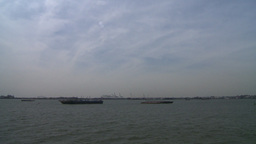 NYC ferry ride look upper new york bay barges Stock Video Footage