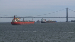 NYC ferry ride tankers Stock Video Footage