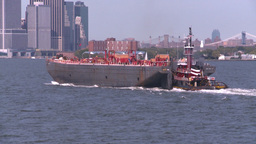 NYC ferry ride barge tug Footage