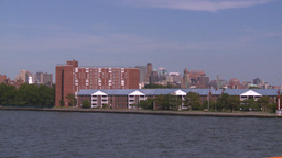 NYC ferry ride water apartments Stock Video Footage