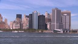NYC ferry ride NY skyline Stock Video Footage