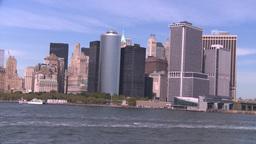 NYC ferry ride NY skyline Stock Video Footage