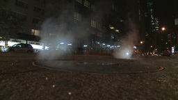 NYC night traffic manhole steam Footage