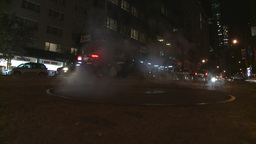 NYC night traffic manhole steam Stock Video Footage