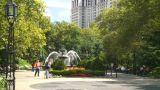 New York City Hall Park Fountain stock footage