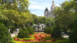 New York City Hall Park Fountain Stock Video Footage