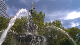 New York City Hall Park Fountain Stock Video Footage