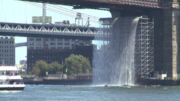 NYC Brooklyn bridge waterfall Stock Video Footage