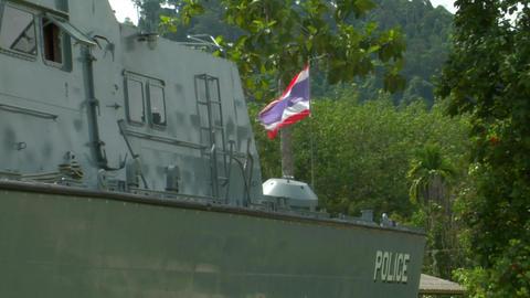 Tsunami police boat monument Khao Lak 01 Stock Video Footage