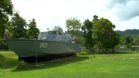 Tsunami police boat monument Khao Lak 01 Stock Video Footage