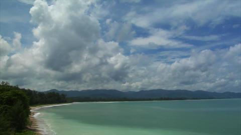Thailand Beach pan cloudy Stock Video Footage
