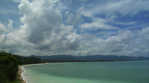Thailand Beach pan cloudy Footage