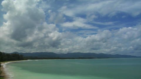 Thailand Beach pan cloudy Stock Video Footage