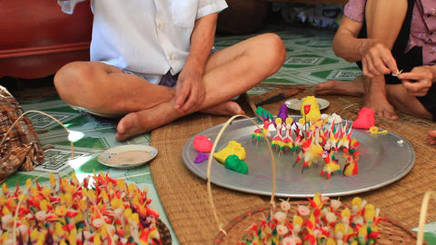 A family squeeze toys for kids with colored rice powder, Asia Footage