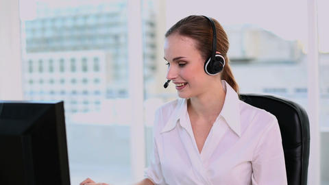 Happy call center agent working Footage